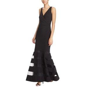 Lauren Ralph Lauren Tulle Panel Jersey Gown Formal